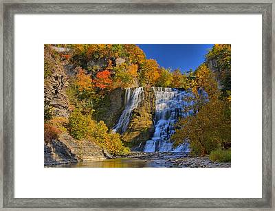 Ithaca Falls In Autumn Framed Print by Matt Champlin
