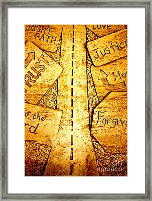 It's A Long Road Framed Print by Ted Wheaton