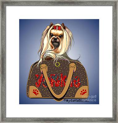 It's A Yorkie In A Bag  Framed Print by Catia Cho