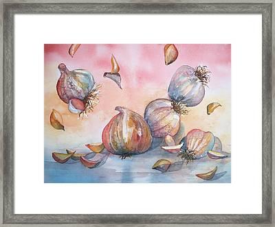 Its Raining Garlic Framed Print by Sandy Collier