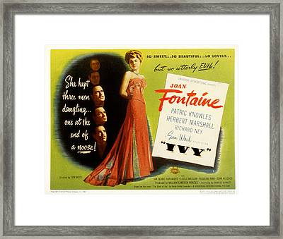 Ivy, Joan Fontaine, Patric Knowles Framed Print by Everett