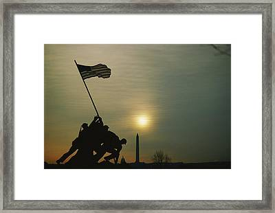 Iwo Jima Monument Silhouetted Framed Print by Anthony Peritore
