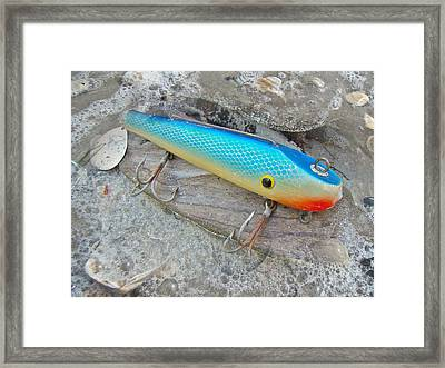 J And J Flop Tail Vintage Saltwater Fishing Lure - Blue Framed Print by Mother Nature