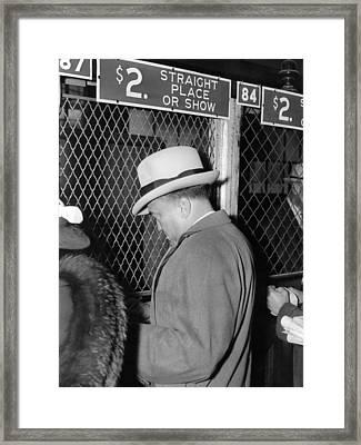 J. Edgar Hoover Placing A Bet Framed Print by Everett