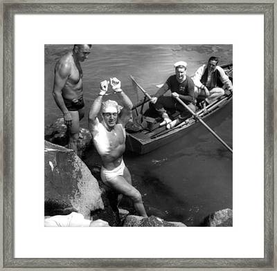 Jack Lalanne After Handcuffed Swim Framed Print by Everett