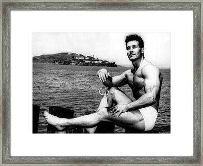 Jack Lalanne Before Handcuffed Swim Framed Print by Everett
