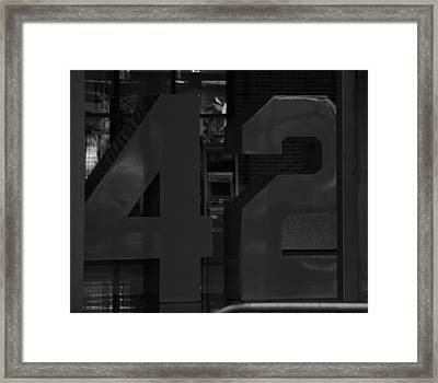 Jackie Robinson In Black And White Framed Print
