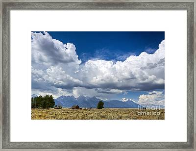 Jackson Hole Barn And Clouds Framed Print by Dustin K Ryan