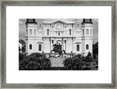 Jackson Statue And St Louis Cathedral French Quarter New Orleans Black And White Framed Print