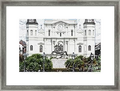 Jackson Statue And St Louis Cathedral French Quarter New Orleans Colored Pencil Digital Art Framed Print