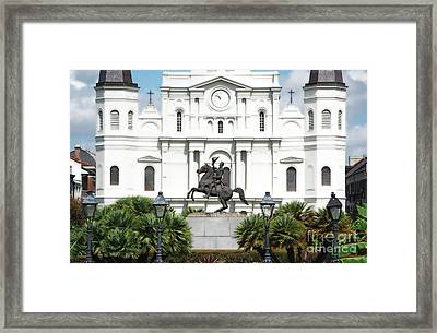 Jackson Statue And St Louis Cathedral French Quarter New Orleans Diffuse Glow Digital Art Framed Print