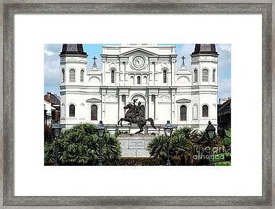 Jackson Statue And St Louis Cathedral French Quarter New Orleans Ink Outlines Digital Art Framed Print
