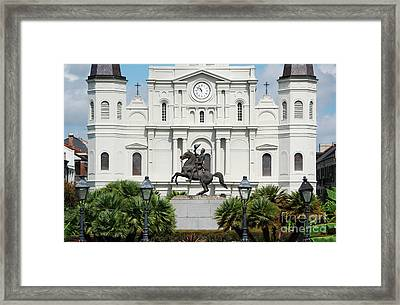 Jackson Statue And St Louis Cathedral French Quarter New Orleans Framed Print