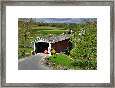 Framed Print featuring the photograph Jacksons Sawmill Covered Bridge by Dan Myers