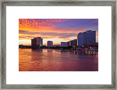 Jacksonville Skyline At Dusk Framed Print by Debra and Dave Vanderlaan