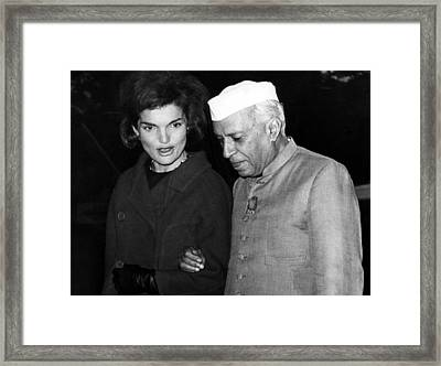 Jacqueline Kennedy, And Indian Prime Framed Print by Everett