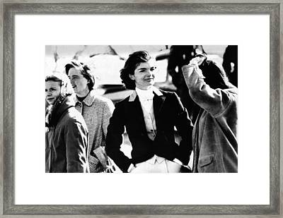 Jacqueline Kennedy At A Hunt Framed Print by Everett