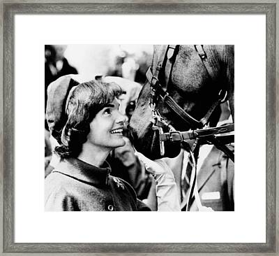 Jacqueline Kennedy Beams At One Framed Print
