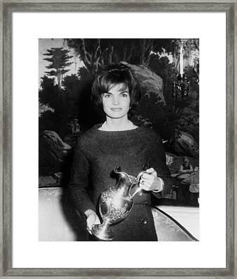 Jacqueline Kennedy Holds A Silver Framed Print by Everett