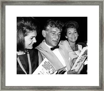Jacqueline Kennedy, Leonard Bernstein Framed Print by Everett