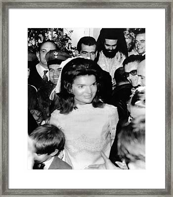 Jacqueline Kennedy Marries Aristotle Framed Print by Everett