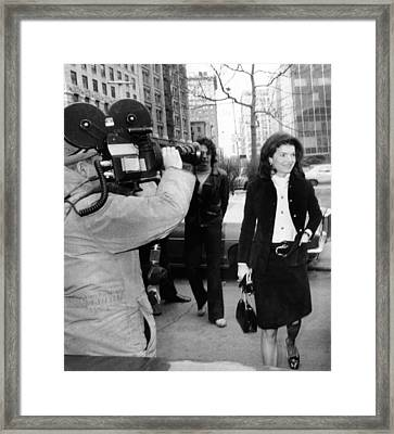 Jacqueline Kennedy Onassis Arrives Framed Print