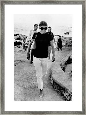Jacqueline Kennedy Onassis On Vacation Framed Print