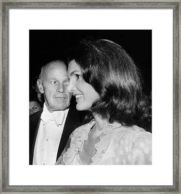 Jacqueline Kennedy Onassis With George Framed Print by Everett