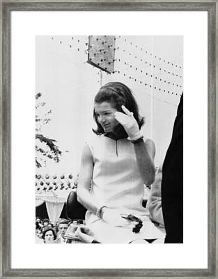 Jacqueline Kennedy, Riding In An Open Framed Print by Everett