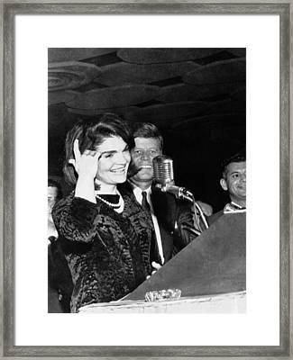 Jacqueline Kennedy Speaking In Spanish Framed Print by Everett