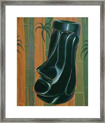 Jade Moai Framed Print by Shawn Shea