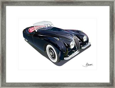 Jaguar Xk 120 On White Framed Print by Alain Jamar