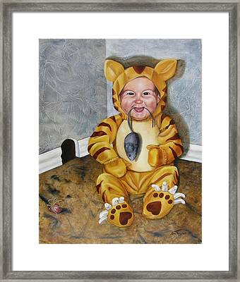 Framed Print featuring the painting James-a-cat by Lori Brackett