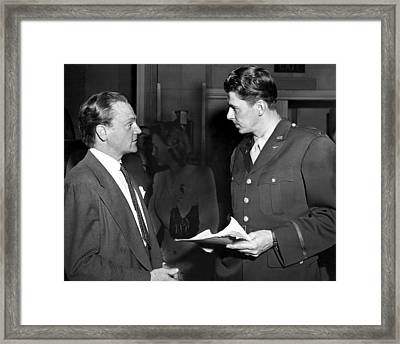 James Cagney, Ronald Reagan At A Salute Framed Print by Everett