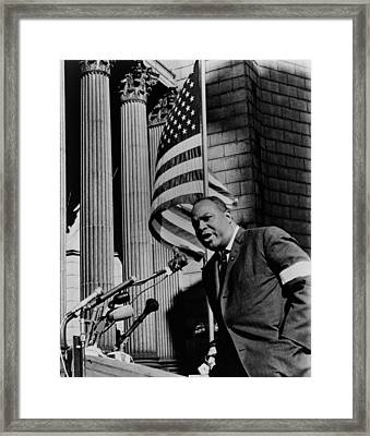 James Farmer, Speaking At Foley Square Framed Print by Everett