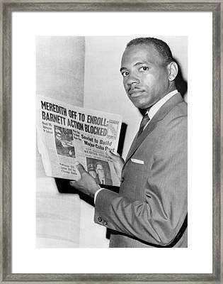 James Meredith After Attempt To Enroll Framed Print