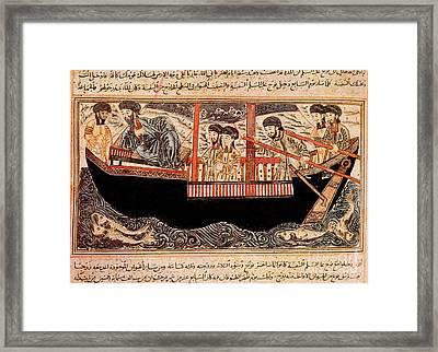 Jami Al-tawarikh, Noah And His Sons Framed Print by Photo Researchers