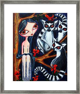 Jane And The Lemurs Framed Print by Leanne Wilkes