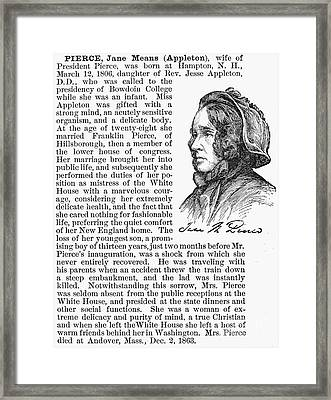 Jane Means Appleton Pierce Framed Print by Granger