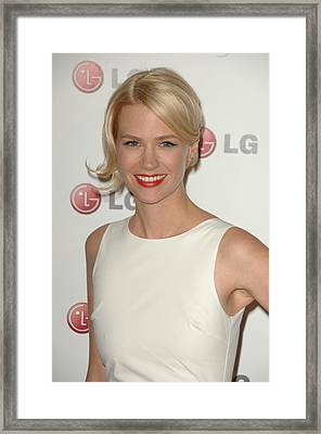 January Jones At Arrivals For A Night Framed Print by Everett