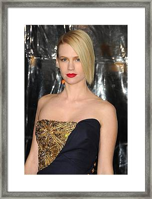 January Jones At Arrivals For Unknown Framed Print by Everett