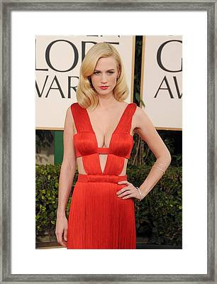 January Jones Wearing A Versace Dress Framed Print by Everett