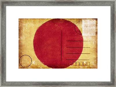 Japan Flag Postcard Framed Print by Setsiri Silapasuwanchai