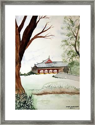 Japan House Framed Print by Diane Vasarkovy
