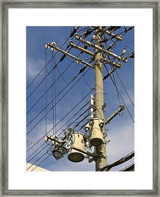Japan Power Utility Pole Framed Print by Daniel Hagerman