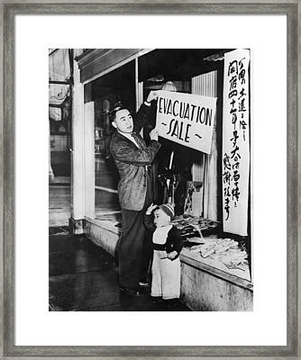 Japanese-american Merchant Posts A Sale Framed Print by Everett