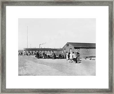 Japanese Americans Amid The Tar Paper Framed Print by Everett