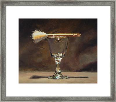 Japanese Brush And Wineglass Framed Print by Jeffrey Hayes