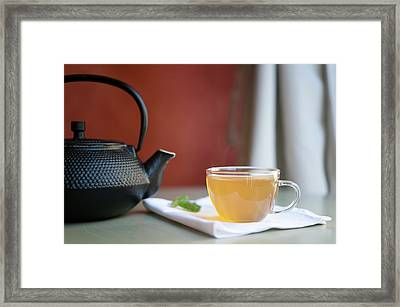 Japanese Cast Iron Teapot, Hot Tea And Mint Leaves Framed Print
