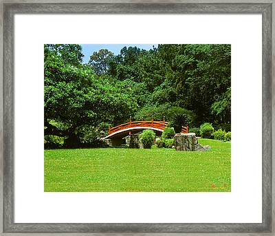 Japanese Garden Bridge 21m Framed Print by Gerry Gantt